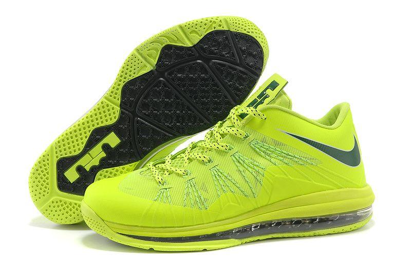 Buy 2013 New Nike Air Max Lebron 10 Low Lightgreen Black Sports Shoes Shop