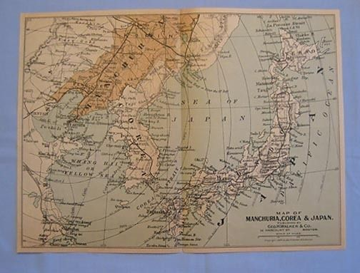 1904 Map of Manchuria, Korea (Spelled Corea) and Japan Vintage $13 - best of world map japan ecuador