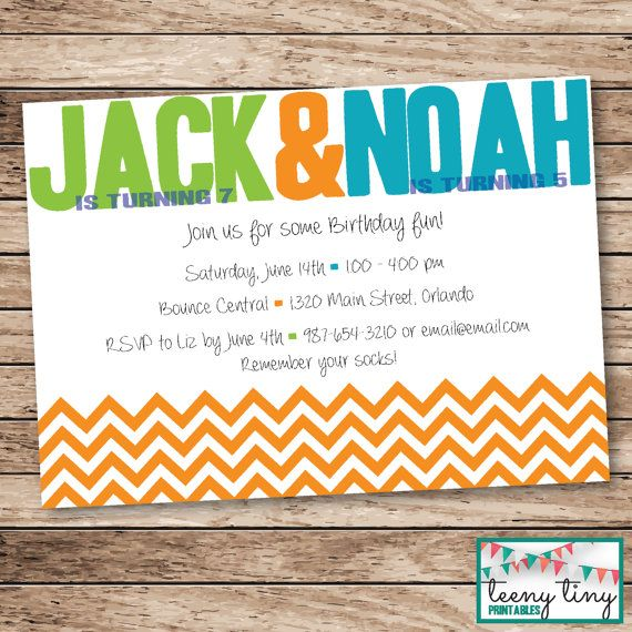 Joint Birthday Invitation with chevron print - Colors Customizable! by www.teenytinyprintables.etsy.com  [ shared birthday / dual birthday / joint party / kids party / bright colors / printable / boy and girl party ]