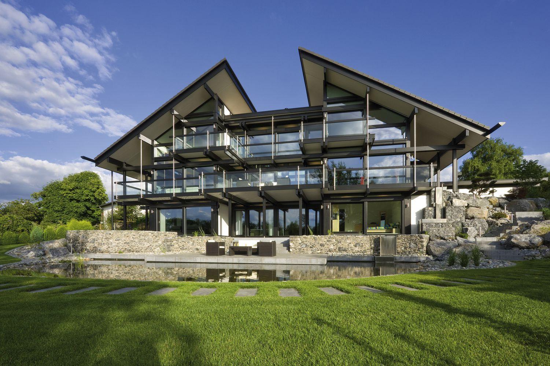 HUF Fertighaus Fachwerkhaus moderne Gartengestaltung