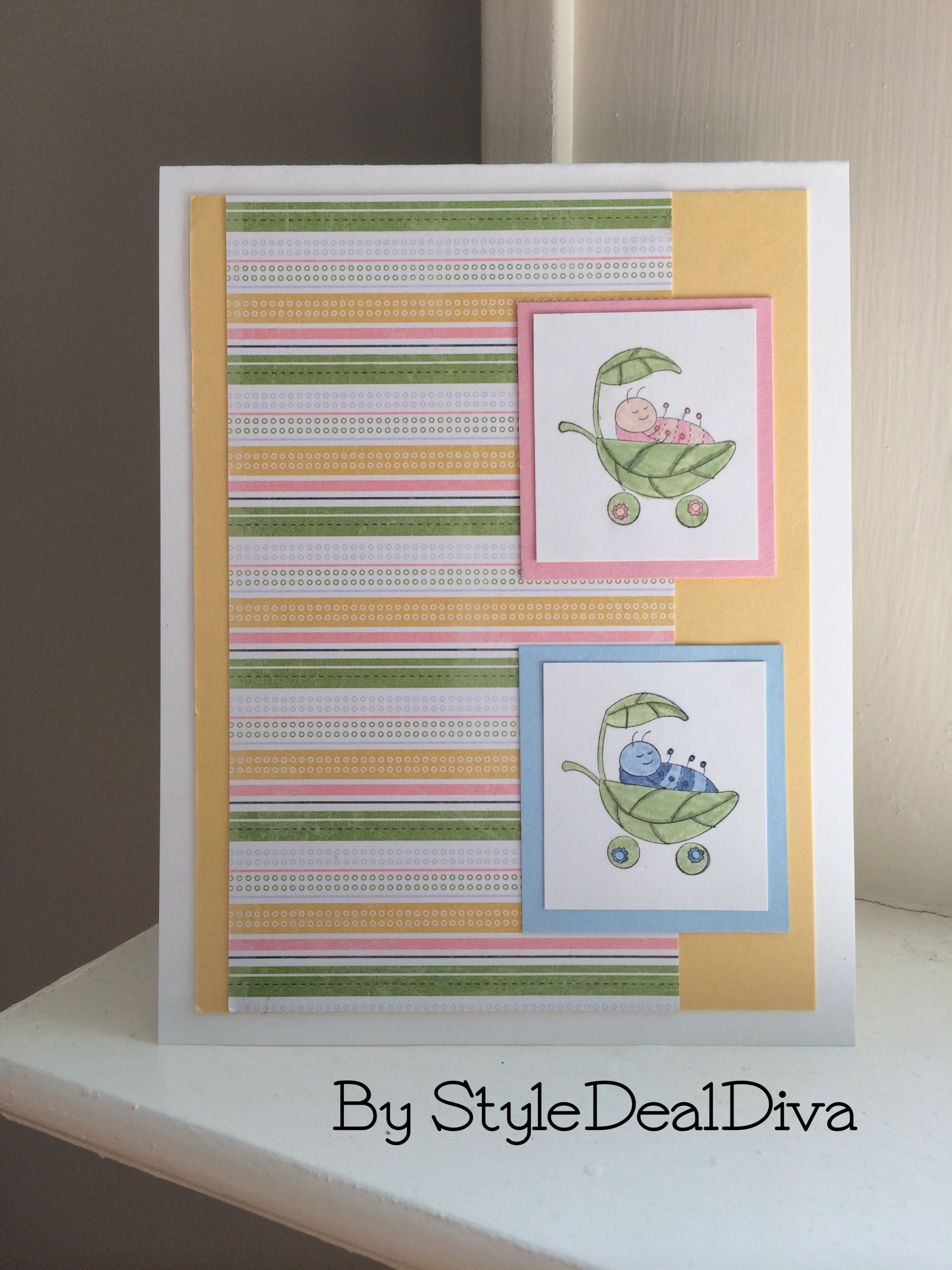 Card for a set of newborn baby twins; a boy and girl. Made with Stampin' Up!'s Love Bug set. Using SU colors Certainly Celery, Mellow Moss, Bashful Blue, Blush Blossom, and Pretty in Pink.
