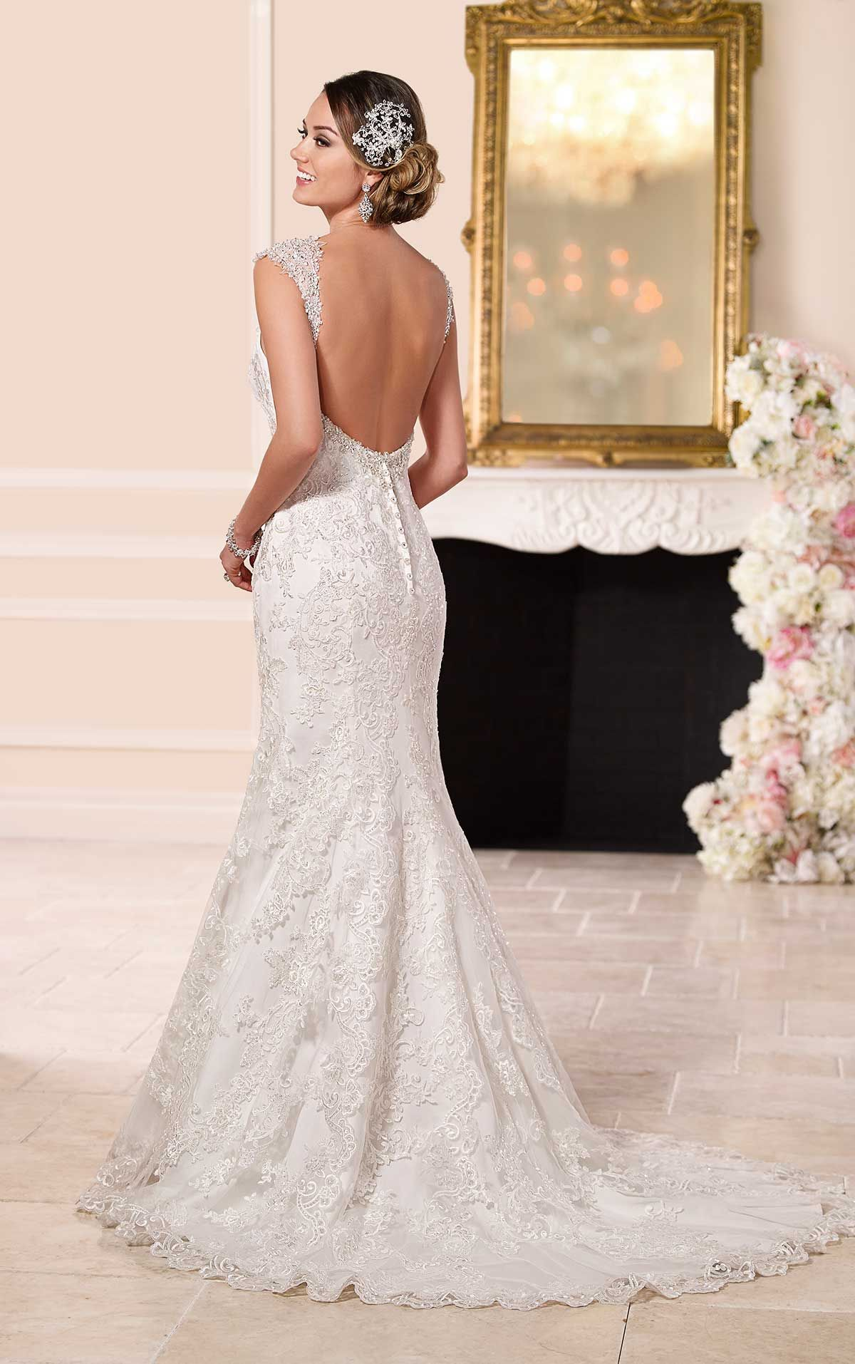 Lace Over Satin Low Back Wedding Dresses