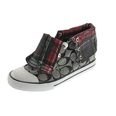 Coach-NEW-Black-Ivory-Jacquard-Flat-Casual-Shoes-Sneakers-7-Medium-B-M-BHFO