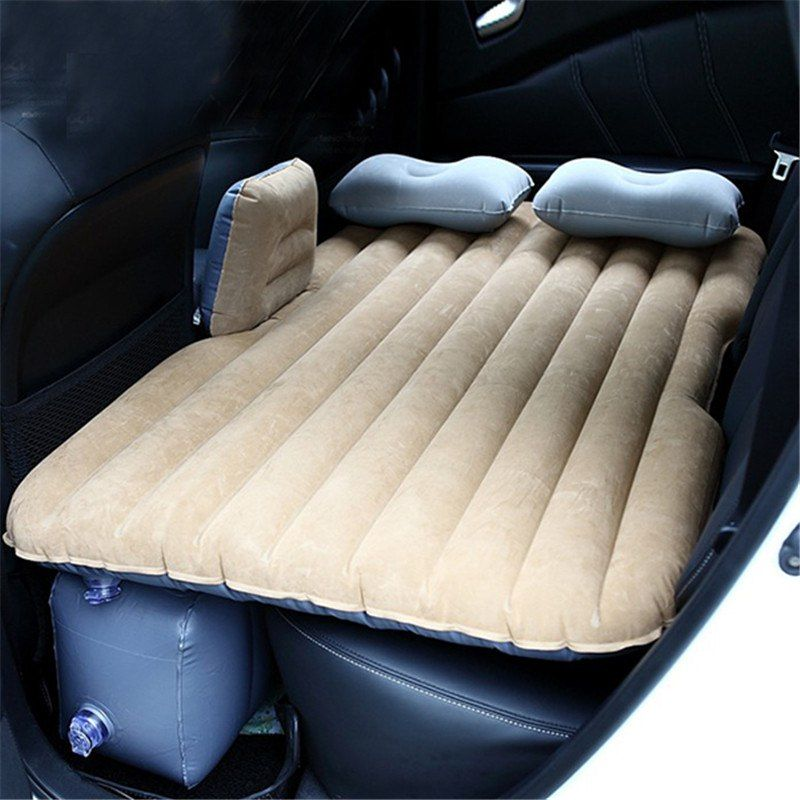 Car Air Bed Inflatable Mattress Back Seat Cushion w// Pillows For Travel Camping