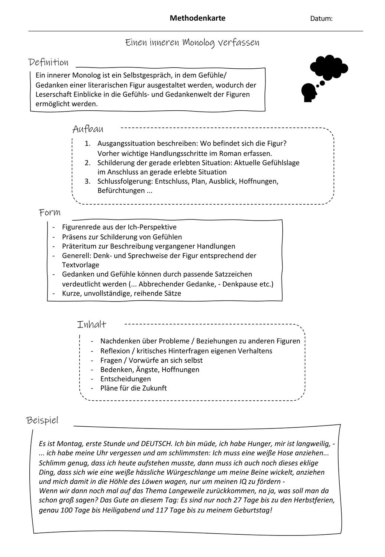 Methodenkarte Innerer Monolog – Unterrichtsmaterial im Fach ...
