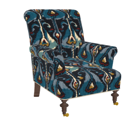 The Burton Chair Covered With Ikat Bands   Robert Allen Fabrics Indigo. The  Burton Chair Is Ideal As A Fabric Showcase, With Its Tight Back And Seat.