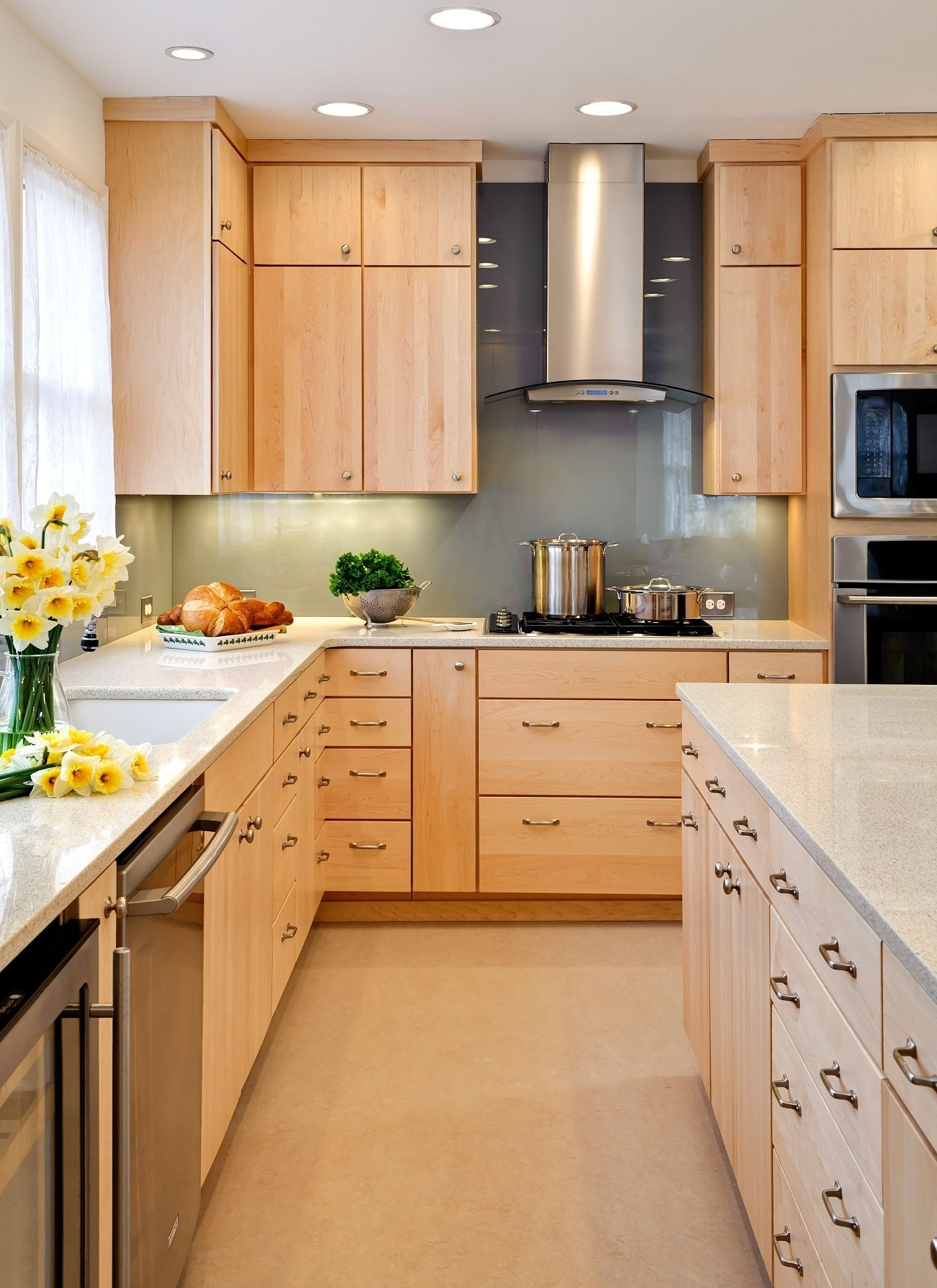 maple flat front cabinets modern | natural finish maple ... on Light Maple Cabinets With White Countertops  id=58327
