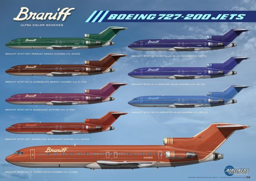 Braniff Boeing 727 200 Colour Schemes Aviation Us