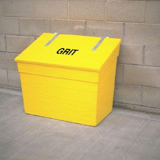 These 336 litre capacity stackable grit bins are available in a Smooth or Victoriana finish.  Images show Victoriana finish which includes gold beading and smooth finish.  Choice of an open or closed front.  Glass fibre composite stackable grit bin with self feeding system.