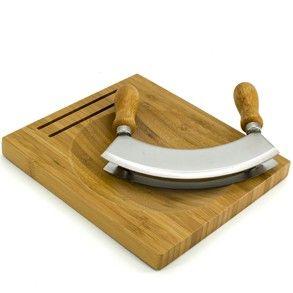 Mezzaluna Chopping Knife Board Set Set 2in1 Wood Food Chopping Board Set Chopping Knife Knife