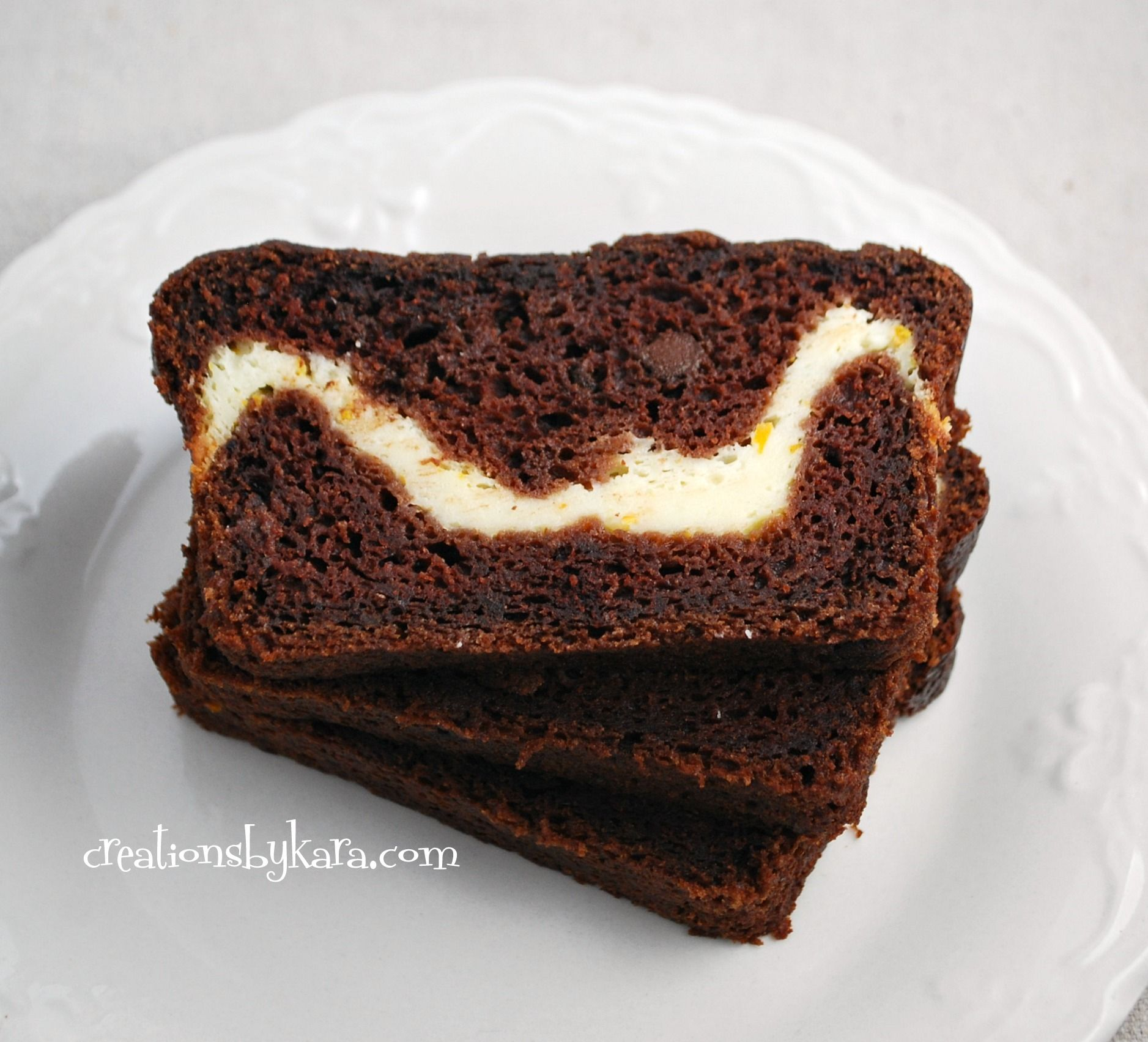 Chocolate Zucchini Bread with Cream Cheese Filling #zucchini
