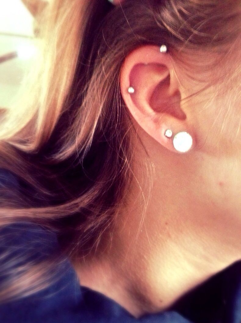 Industrial Piercing Without The Bar Piercings Ear Piercings