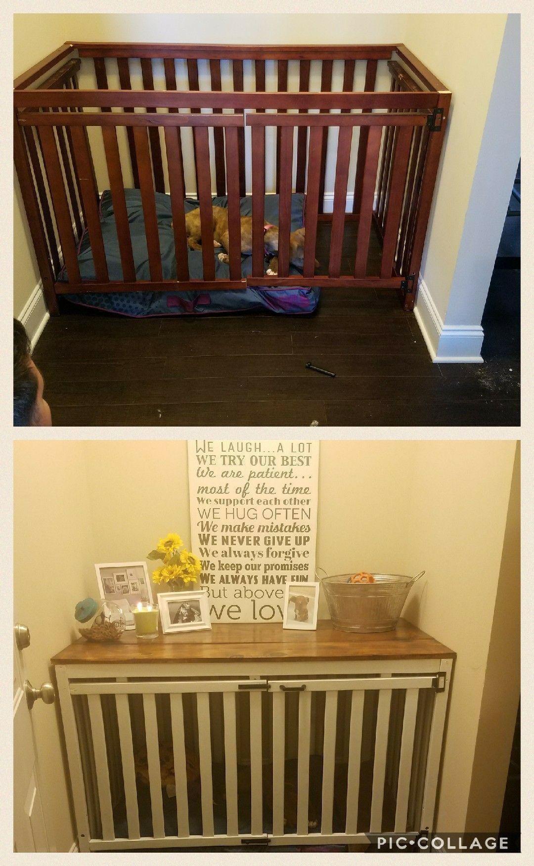 DIY Repurposed Baby Crib. Dog Crate/ Dog House. Diy dog