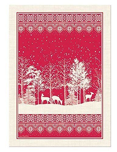 Michel Design Works Snowy Night Kitchen Tea Towel Red White Reindeer Forest