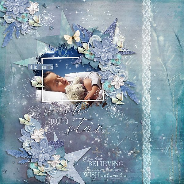 February Pickle Barrel Mojo Challenge -  Shades of Blue  Dreams and Fairytales 6 Pack plus FWP by Heartstrings Scrap Art (some elements re-coloured)  https://www.pickleberrypop.com/shop/product.php?productid=49232