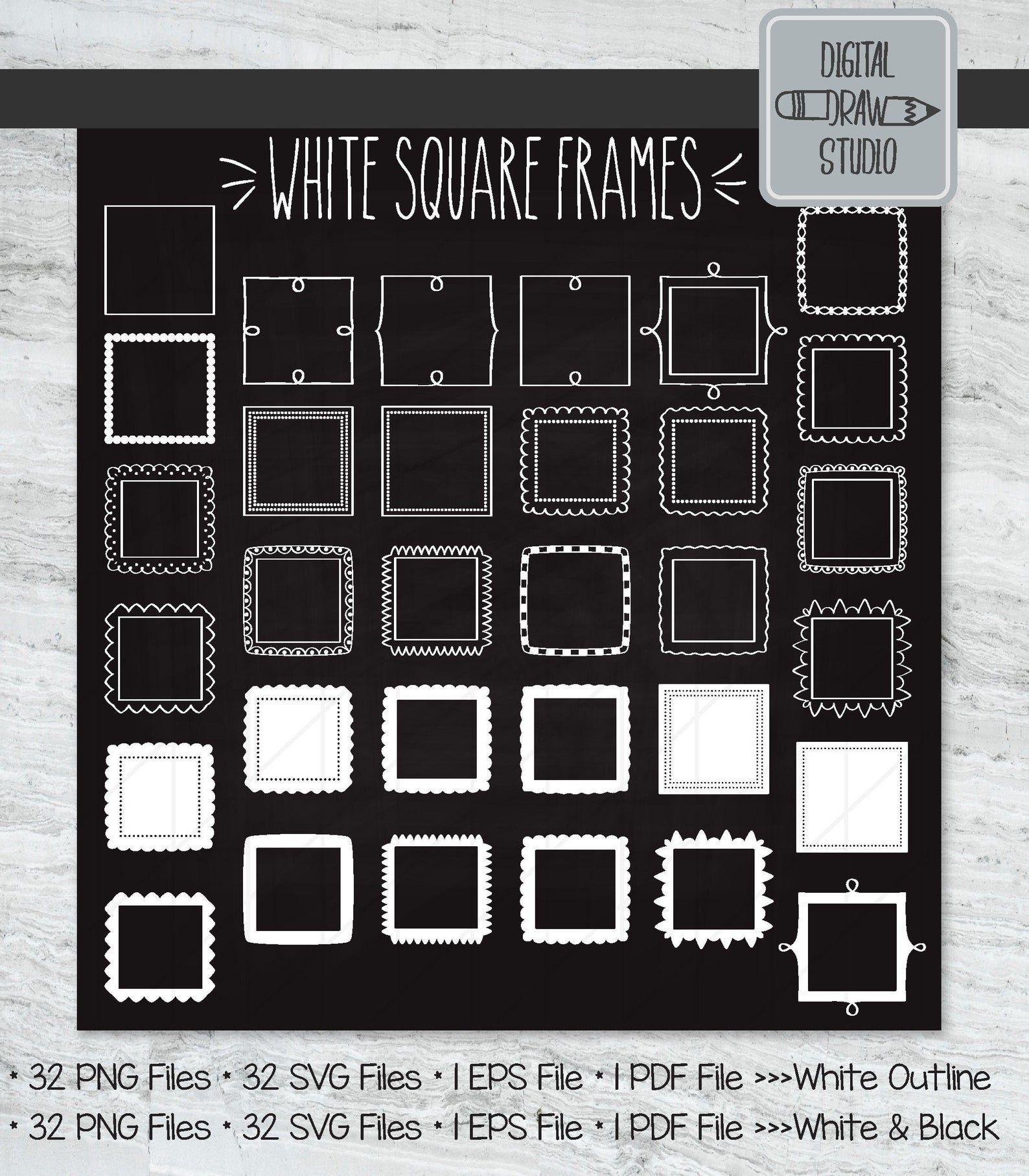 White Square Frame Clip Art Hand Drawn Border Decorative Etsy Frame Clipart White Square Frame Square Frames