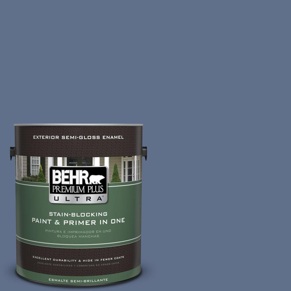 BEHR Premium Plus Ultra 1-gal. #600F-6 Atlantic Blue Semi-Gloss Enamel Exterior Paint