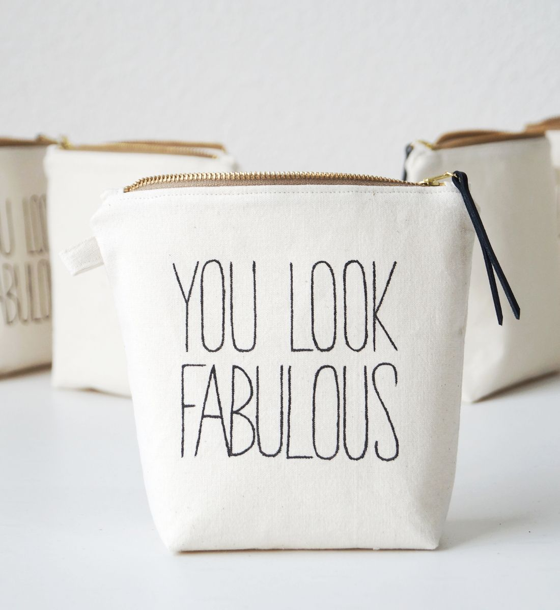 Bridesmaid gift. Personalized makeup bag FABULOUS. Makeup