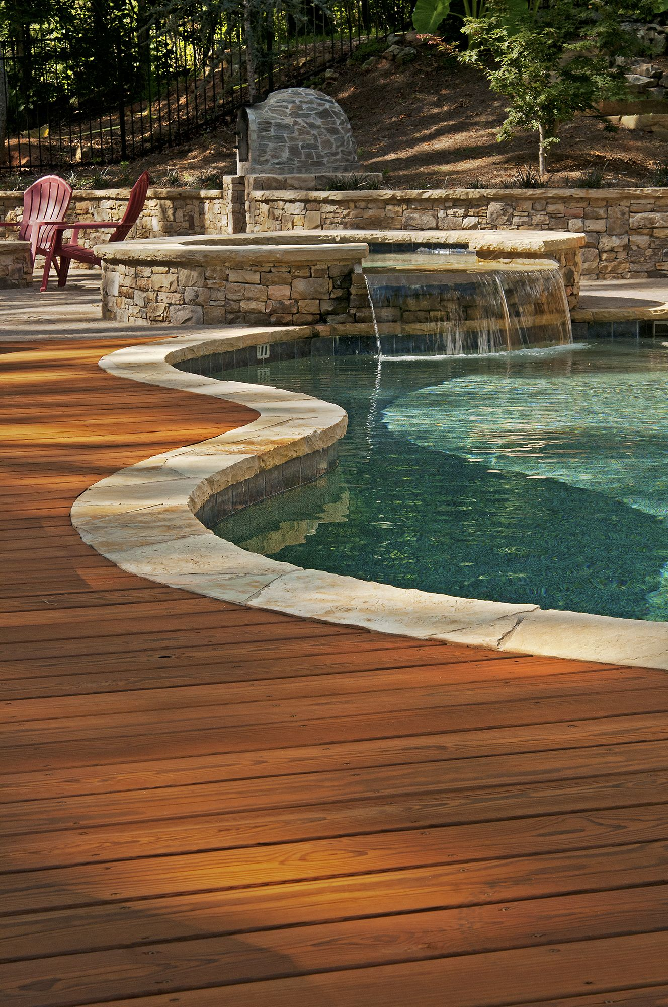 Wood Deck Adjoining An Inground Pool Designed And Built By Atlanta Decking Inground Pool Landscaping Decks Around Pools Wood Pool Deck