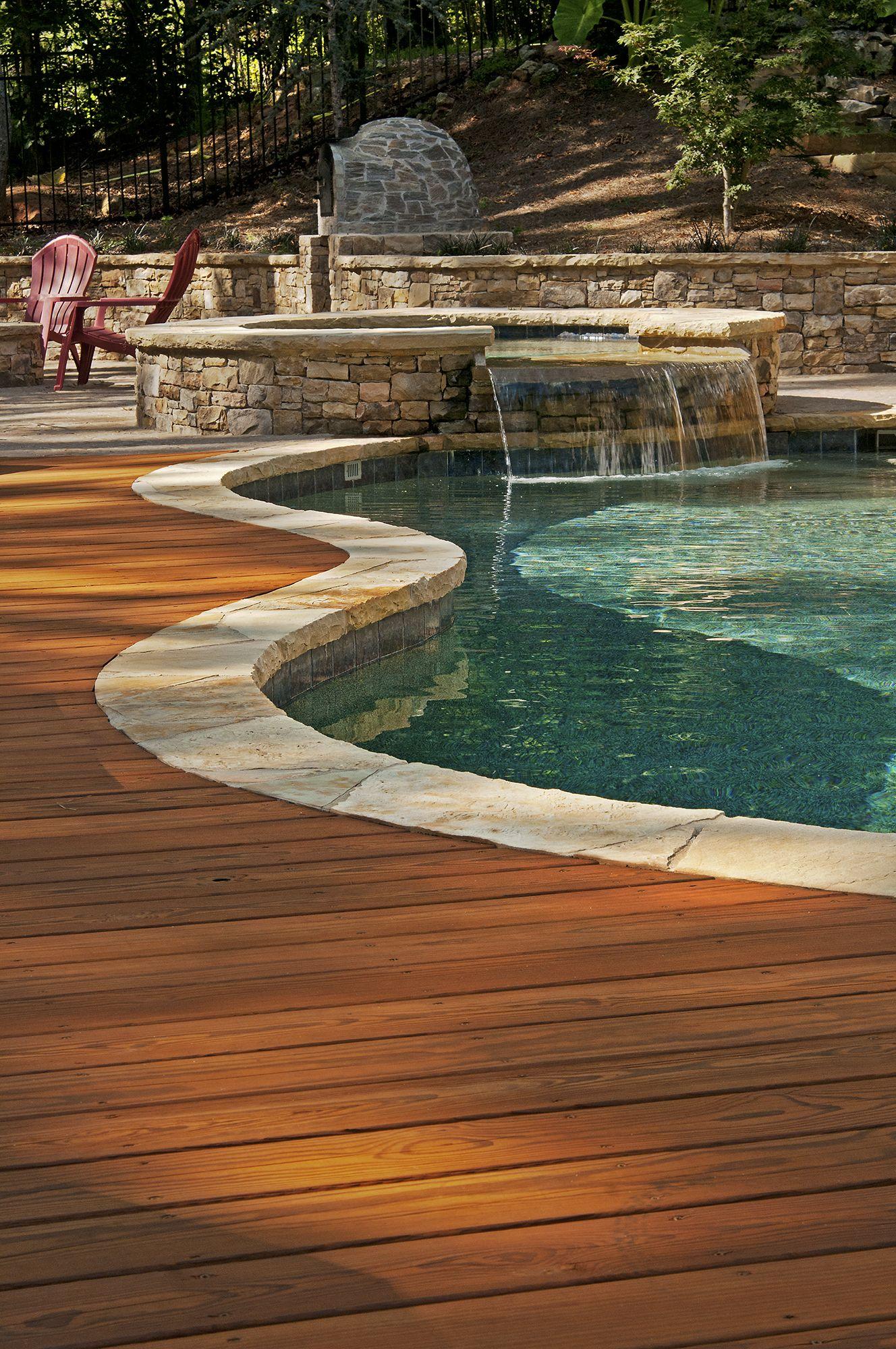 Custom Decks Wood Pool Deck Inground Pool Landscaping Inground