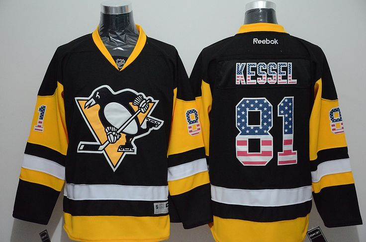 Men's Pittsburgh Penguins #81 Phil Kessel Black Third Jersey 2017 Stanley Cup Champions Patch