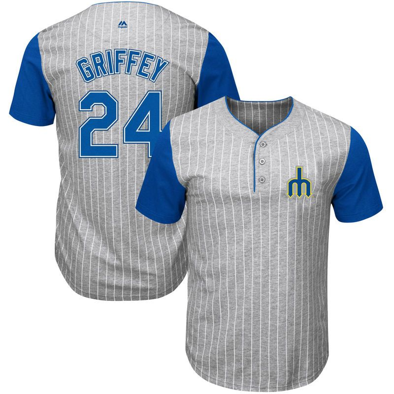 c80f4b5cf06 Ken Griffey Jr. Seattle Mariners Majestic Cooperstown Collection From the  Stretch Pinstripe T-Shirt - Gray Royal