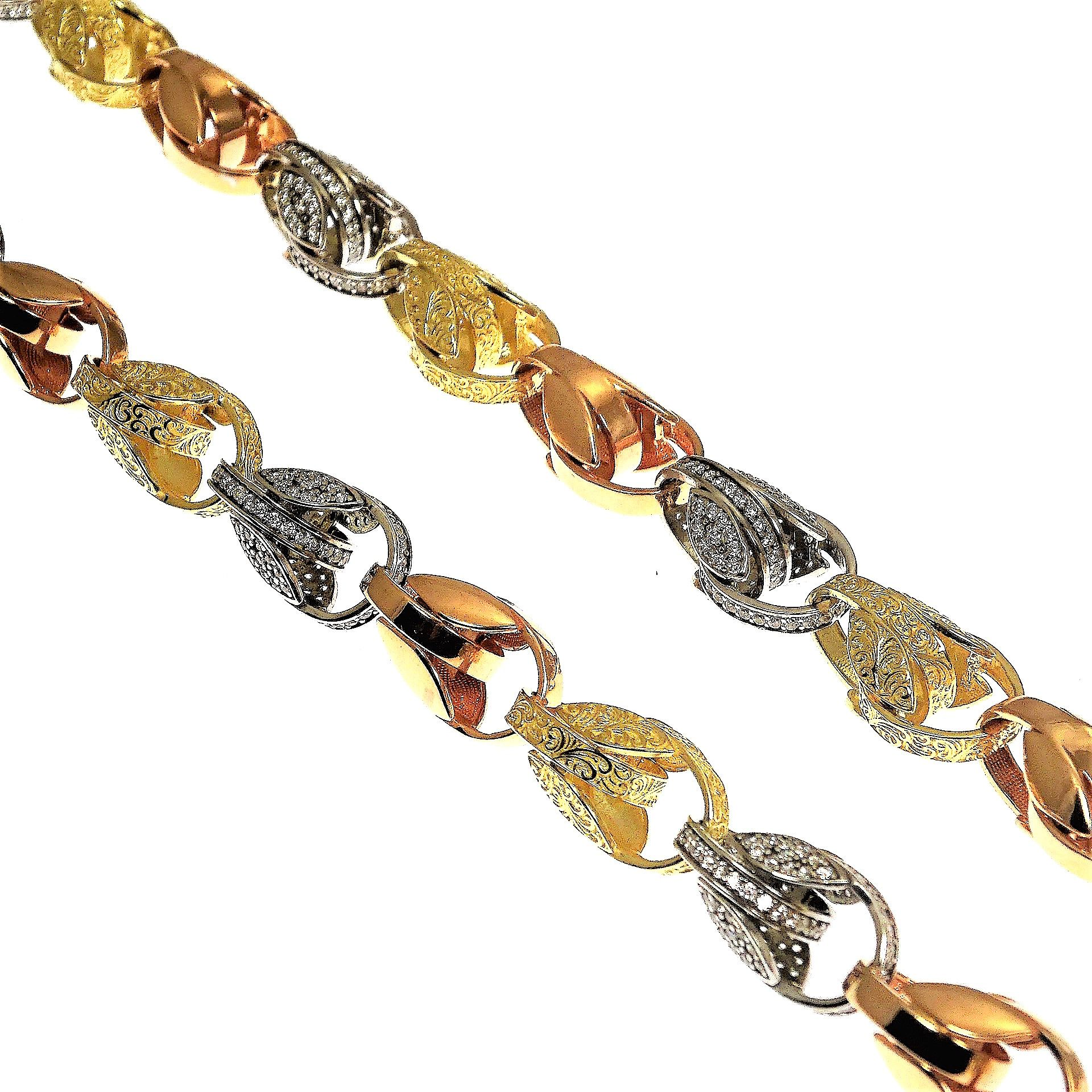 e121a04b18bc7 This is a beautifully designed 9ct Tri- Coloured Gold CZ Tulip Link ...