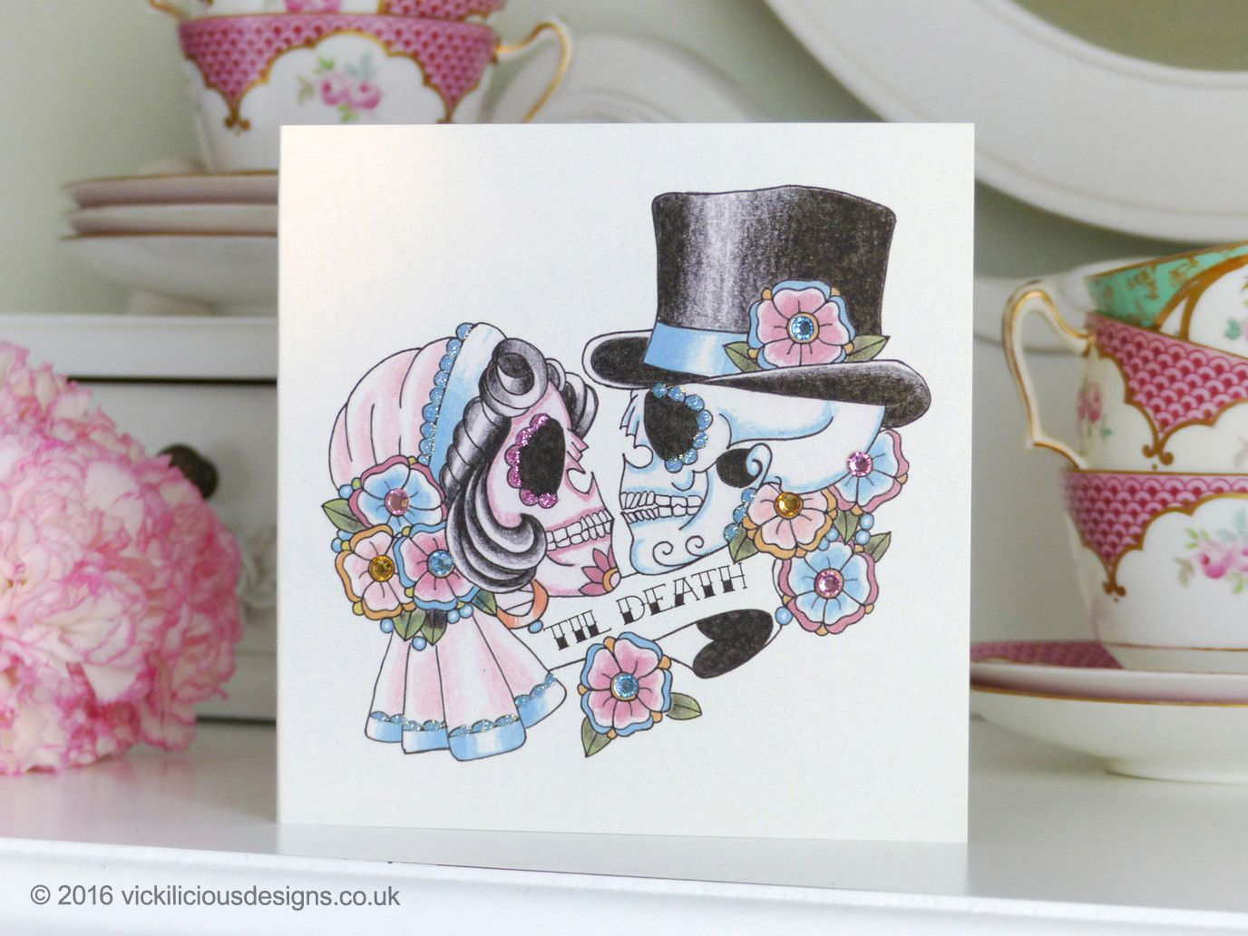 Bride & groom sugar skull \'Til Death\' tattoo handmade Wedding card ...