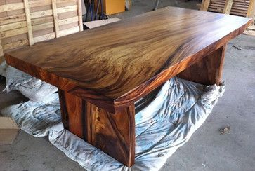 Reclaimed Solid Slab Acacia Wood Dining Table by Flowbkk contemporary dining tables Kitchen