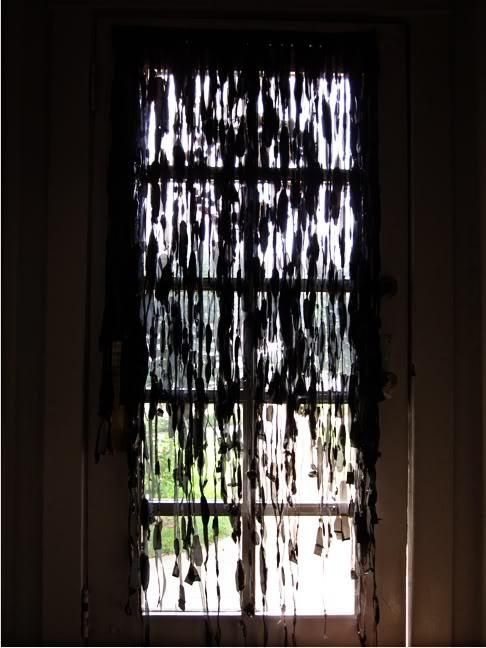 DIY The One with the Distressed Spooky Curtains DIY Curtains DIY - halloween window decorations