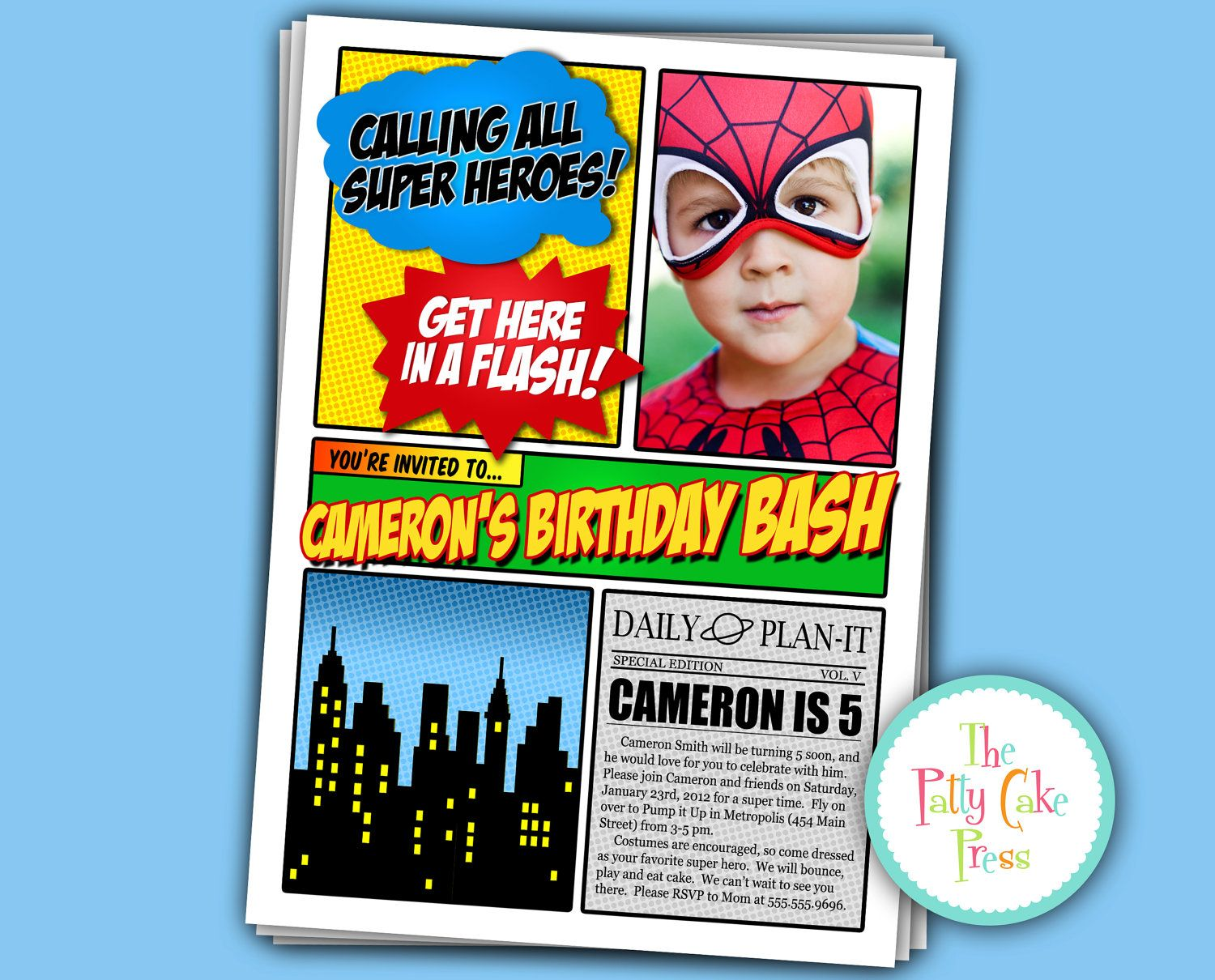 Super Hero Photo Invitation Birthday Party Custom Printable – Superheroes Party Invitations