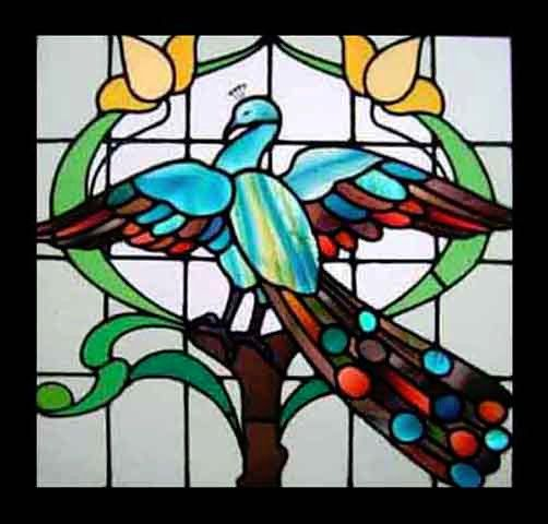 Beautiful Rare Pea Antique Stained Gl Window