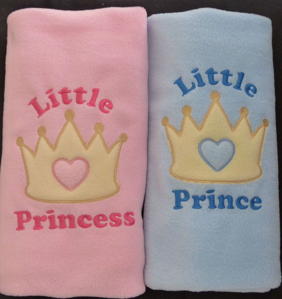 Personalised Embroidered Baby Fleece Blanket Girls Boys Prince Princess Newborn