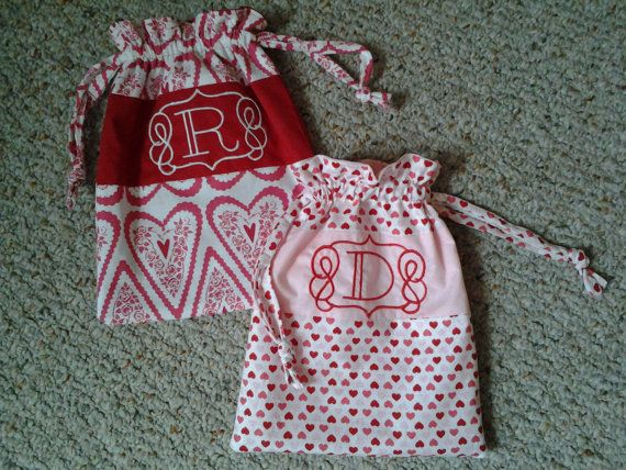 Handmade Draw String bag/ Valentines String bag/ by KidsAtelier, $15.50