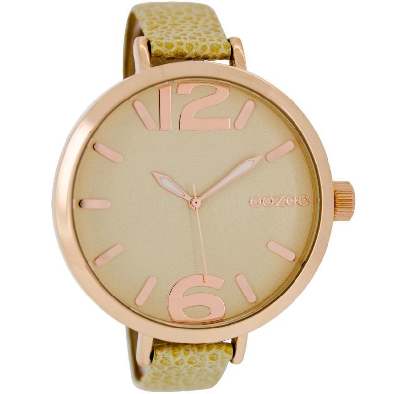 Ρολόι Oozoo Timepieces 48mm RoseGold Case  Green Leather Strap - C6550 ... e9c5a7fd34e