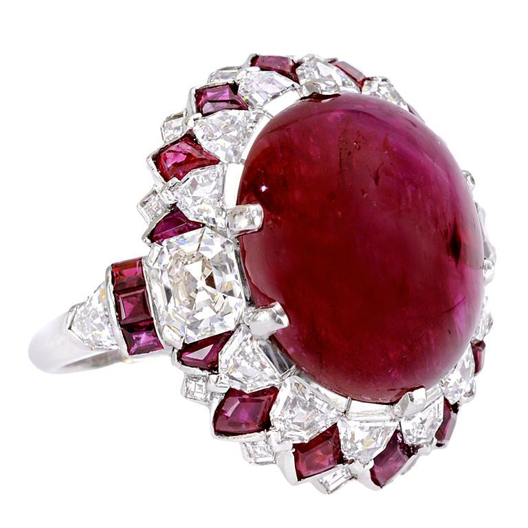 OSCAR HEYMAN & BROTHERS  ruby and diamond ring, circa 1965. Center ruby is 17.92 carats
