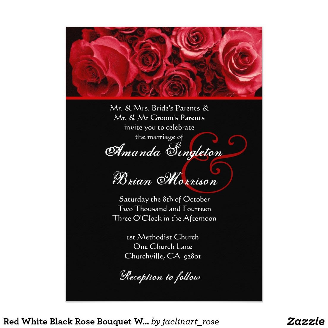 Red White Black Rose Bouquet Wedding Invitation | wedding ...