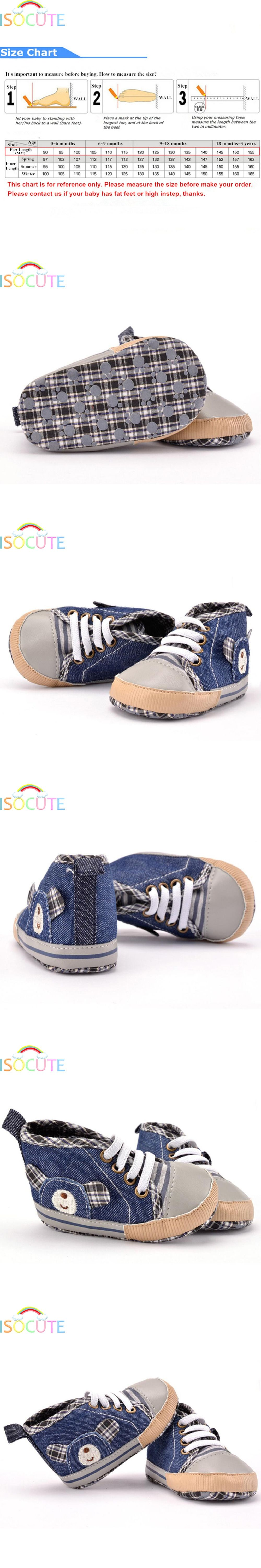 ISOCUTE Novelty Cute Bear Baby Boy Shoes Denim Blue Cartoon Kids