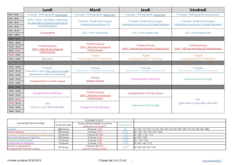 2018 2019 Emplois Du Temps Cm1 Cm2 Maikresse72 Classe