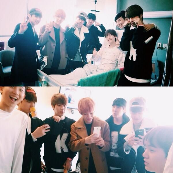 bangtan all together went to visit suga in the hospital