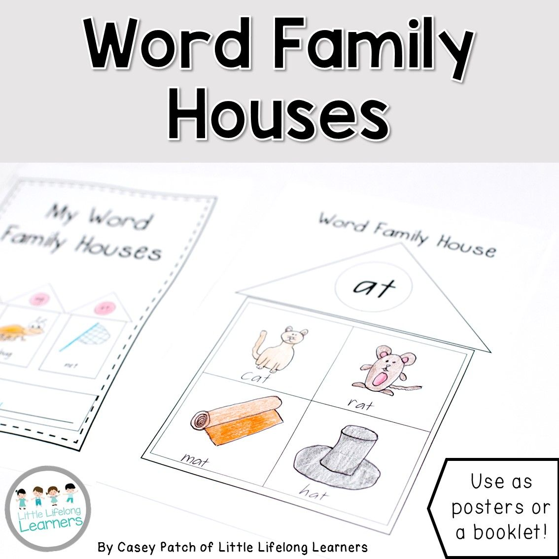 Printable Word Family Houses Booklet Or Poster Little Lifelong Learners Word Families Word Family Worksheets Rhyming Activities [ 1134 x 1134 Pixel ]