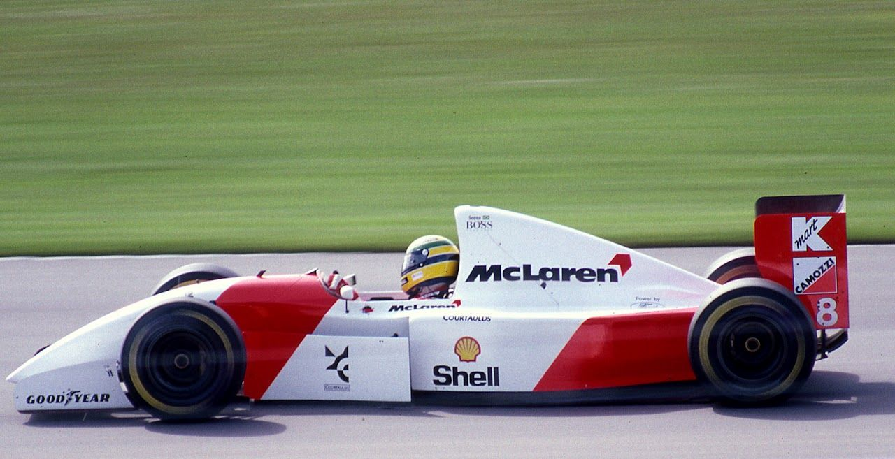 ayrton senna 39 s winning mclaren mp4 8 racing at donington park in 1993 the last f1 grand prix. Black Bedroom Furniture Sets. Home Design Ideas