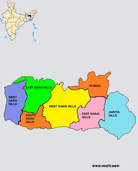 Meghalaya Districts Map  Indian States  Pinterest  Destinations