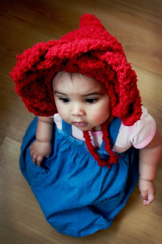 b7e053bf16f5 6 to 12m Baby Red Rose Flower Hat Baby Bonnet Crochet Baby Hat Rose ...