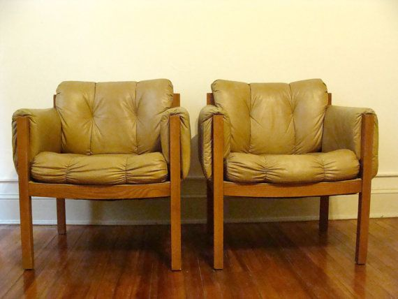 Pair of Vintage Lounge Chairs / Club Chairs Tufted by studio180, SOLD Swanky Mid Century Walnut Arm Chairs