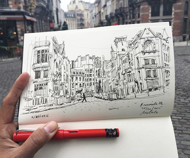 Watteeu #sketch #sketching #sketchbook #sketchwalker #TravelSketch #TravelSketcher #urbansketchers #brussels#belgium