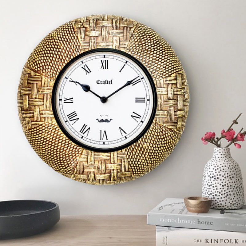 Buy Antique Golden 12 Inch Brass Metal Fitted On Mdf Wooden Base Decorative Wall Clock Online In India Wooden Street In 2020 Wall Clock Clock Wall Decor Clock