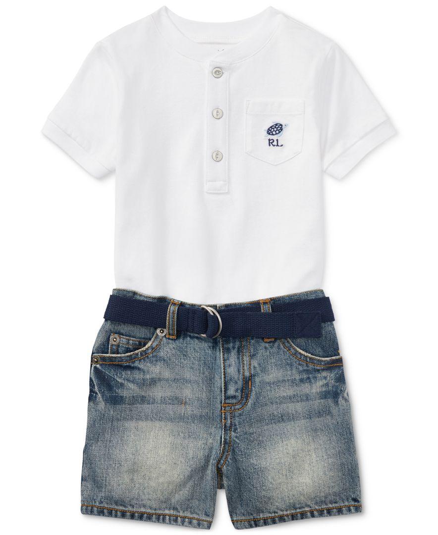 37895c17 Polo Ralph Lauren Henley Shirt & Denim Shorts Set, Baby Boys ...
