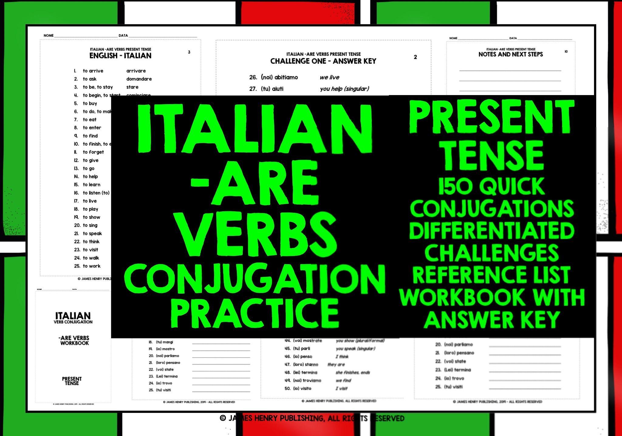 Conjugating Italian Are Verbs In