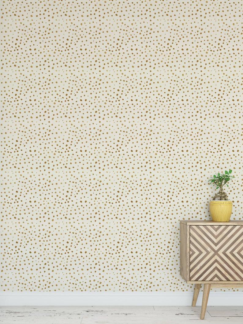 Removable Wallpaper Peel And Stick Wallpaper Wall Paper Wall Etsy Dots Wallpaper Gold Polka Dot Wallpaper Polka Dots Wallpaper